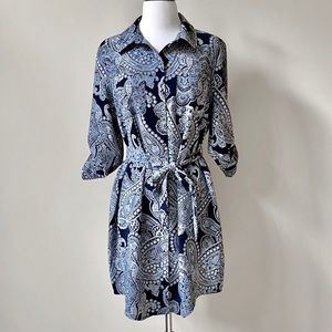 The Limited Paisley Belted Dress Navy Shirt NWT